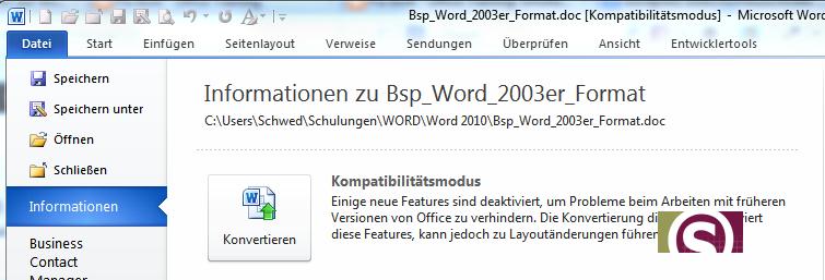 Datei Konvertieren in Word 2010