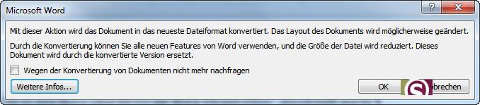 Konvertierungsmeldung in Word 2010