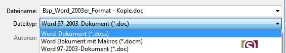 Speichern unter - neuer Dateityp