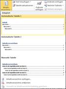 Dialogfeld Layout für Inhaltsverzeichnisse