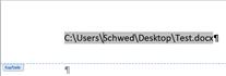 Word Dateiname und Pfad in Fußzeile