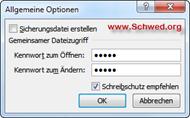 Dialogbild Allgemeine Optionen - Schreibschutz