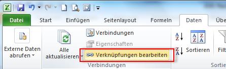 Verknüpfungen in Excel bearbeiten