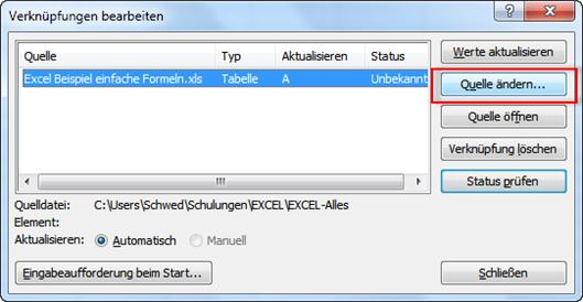 Verknüpfte Excel-Dateien anzeigen bzw. Verknüpfungen ändern