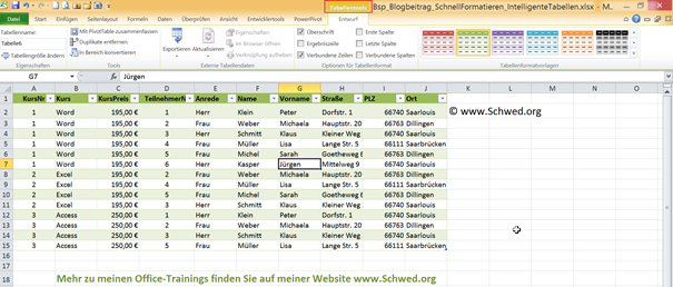 "Kontextregisterkarte ""Tabellentools"""