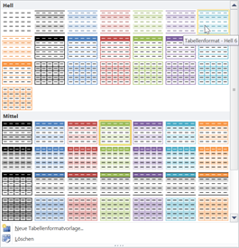 Dialog Tabellenformatvorlagen