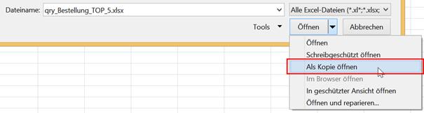 Excel-Datei als Kopie öffnen
