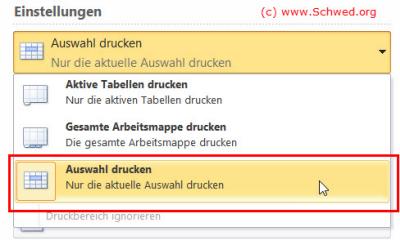 Excel Auswahl Drucken