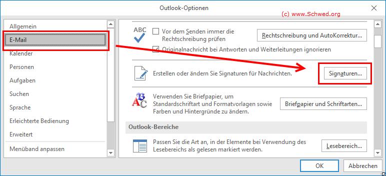 Signatur erstellen mit Email-Optionen