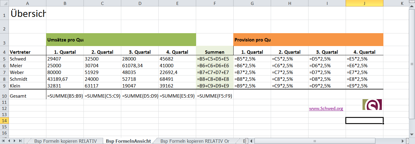 Formelansicht in Excel