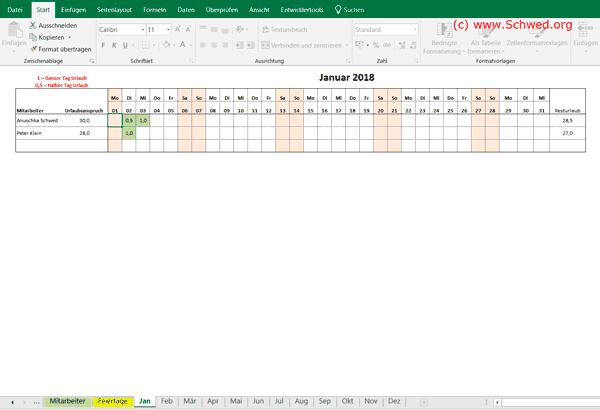 Kostenloser Excel Urlaubsplaner