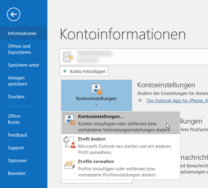 Outlook-Optionen Standardpostfach ändern