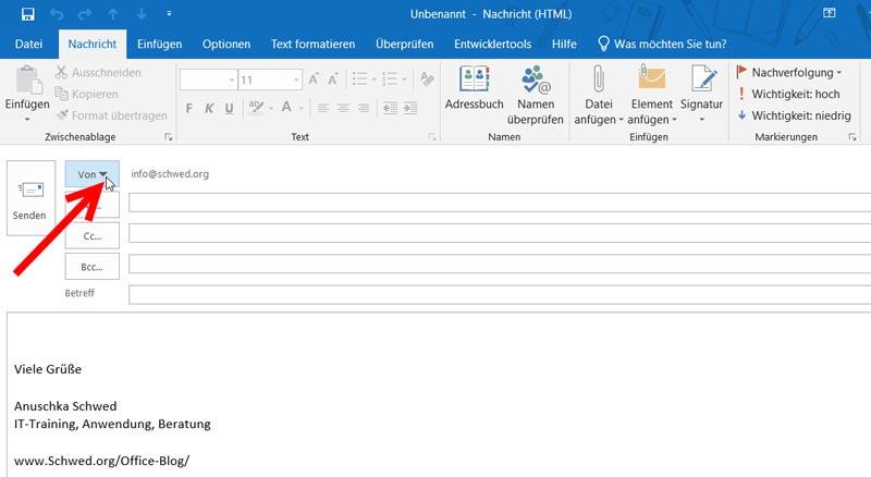 Outlook Temporär Postfach zum Senden ändern