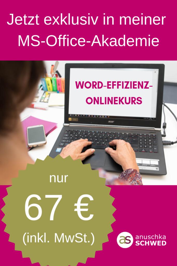 WORD-Effizienz-Onlinekurs mit Betreuung