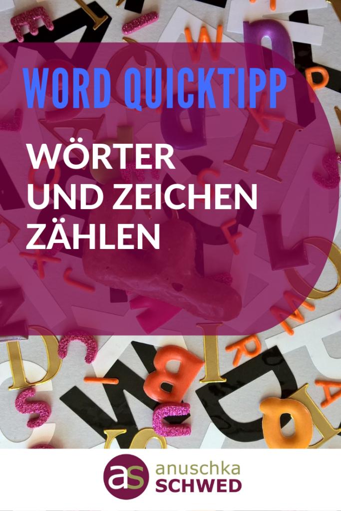 Pinterest WORD QuickTipp Woerter und Zeichen zaehlen