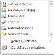 QuickSteps erstellen
