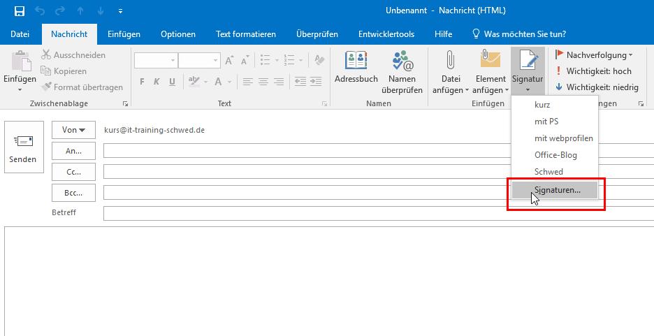Signatur neu erstellen aus Email