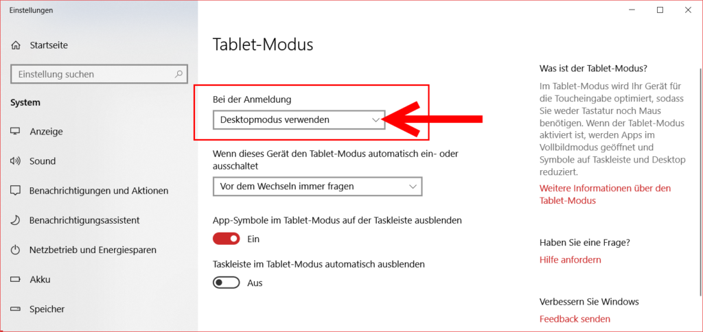 Tabletmoduseinstellungen
