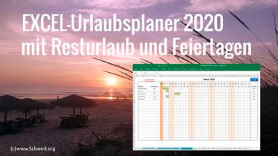 Excel Urlaubsplaner 2020 mit Resturlaub und Feiertagen