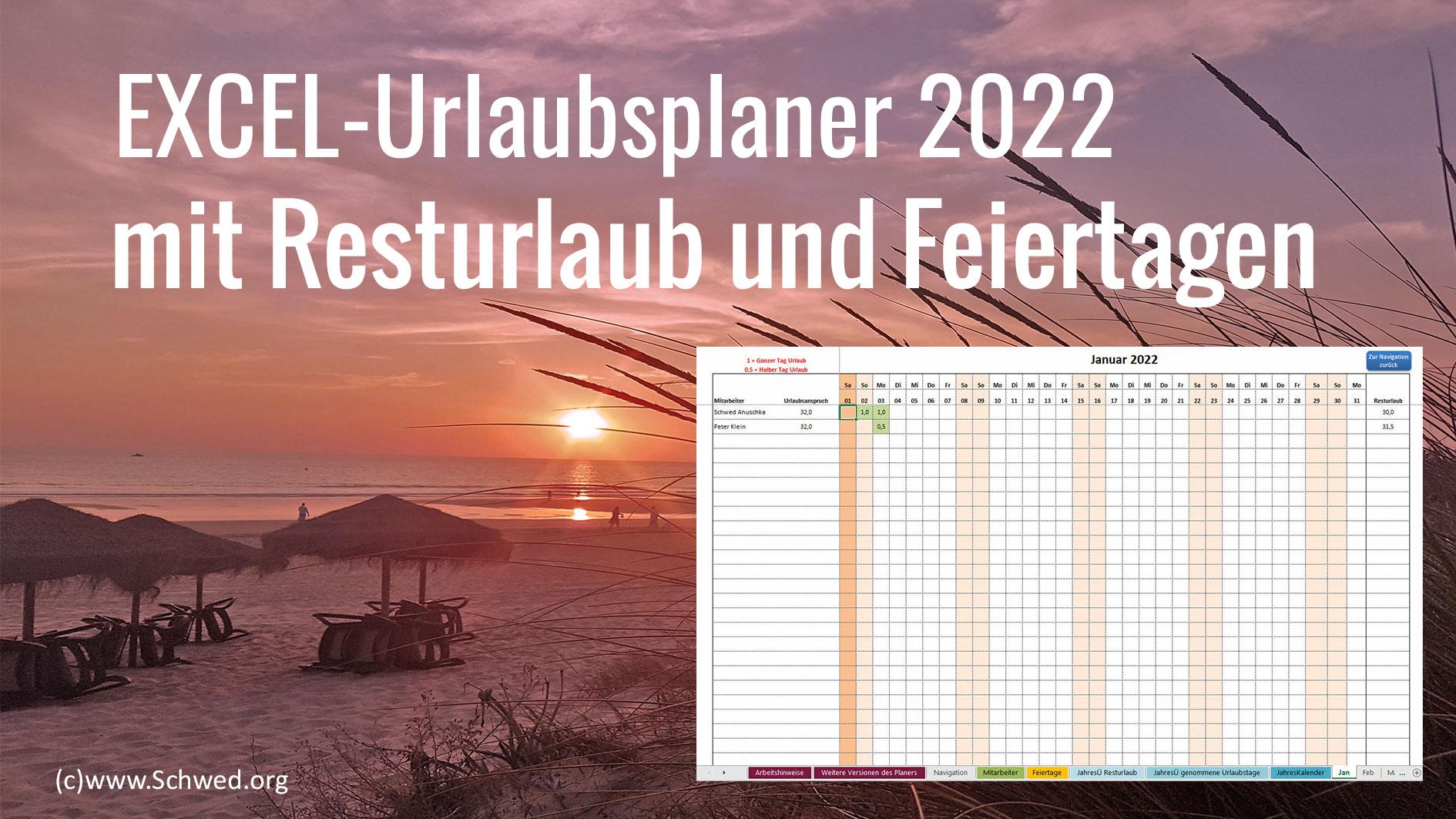 Excel Vorlage Urlaubsplaner 2022 kostenloser download