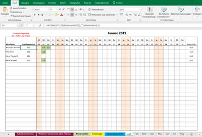 Excel Urlaubsplaner für 20 Mitarbeiter