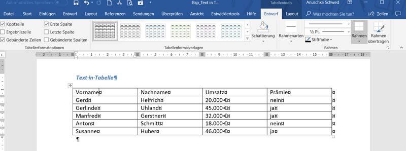 Word-Tabellentools