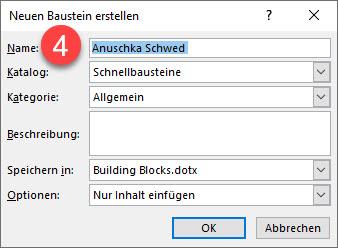 Word-Textbaustein Name vergeben